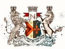 Vector heraldische Illustration in der Weinleseart mit Schild, Löwe, Stockbilder