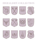 Vector heraldry emblem collection. Royalty Free Stock Photo