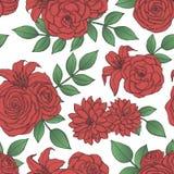 Vector herhaal patroon met rode lelie, chrysant, camelia, pioen en nam bloemen en bladeren toe vector illustratie