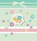 Vector hermoso de la tarjeta de felicitación del vintage del bebé Imagen de archivo libre de regalías