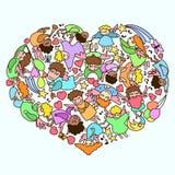 Vector Herz der Karikatur wenig Engel mit Herzen, Anmerkung, Ballon Lizenzfreie Stockfotografie
