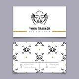 Vector het adreskaartjemalplaatje van de yogatrainer, meditatiepictogram, lotusbloempatroon stock illustratie