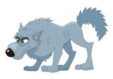 Vector het beeldverhaalillustratie van de wolf Stock Afbeeldingen