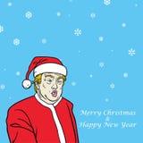 Vector het Beeldverhaalkarikatuur van Donald Trump Christmas Greeting Card Royalty-vrije Stock Afbeelding