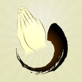 Vector: Het bidden handen, namaste, zen gebaar Stock Afbeeldingen