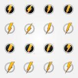 Vector het conceptenreeks van bliksempictogrammen Stock Foto