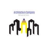 Vector: Het embleem van het architectuurbedrijf met de bouw en gele penc stock illustratie