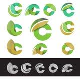 Vector het embleemelementen van de eco groene brief C royalty-vrije illustratie