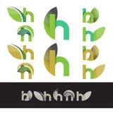 Vector het embleemelementen van de eco groene brief H royalty-vrije illustratie
