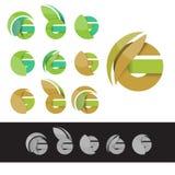 Vector het embleemelementen van G van de eco groene brief vector illustratie