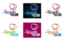 Vector het embleemontwerp van de karaokeclub Adverterend voor karaokebar, partij, discobar, nachtclub Leef muziek Het malplaatje  vector illustratie