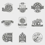 Vector het Embleemreeks van de illustratiepizza Stock Foto's