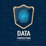 Vector: Het gegevensbeschermingconcept, Gouden schild beschermt een vinger p stock illustratie