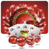 Vector het gokken illustratie met casinoelementen Royalty-vrije Stock Afbeelding