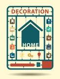 Vector het huisdecoratie van meubilair vlakke pictogrammen Stock Fotografie