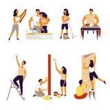 Vector het huisreparatie van het familiepaar vector illustratie