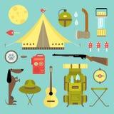 Vector het kamperen pictogrammen royalty-vrije illustratie