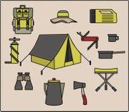 Vector het kamperen pictogramreeks Stock Fotografie