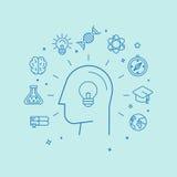 Vector het leren en onderwijsconcept in lineaire stijl Royalty-vrije Stock Afbeeldingen