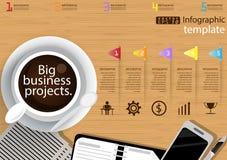 Vector het malplaatje van bedrijfs illustratieinfographic modern Idee en Concept met koffiekop, document, agenda, Pen, Kleurrijke Stock Afbeeldingen