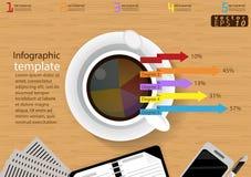 Vector het malplaatje van bedrijfs illustratieinfographic modern Idee en Concept met koffiekop, document, agenda, Pen, Kleurrijke Stock Afbeelding