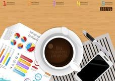 Vector het malplaatje van bedrijfs illustratieinfographic modern Idee en Concept met koffiekop, document, agenda, Pen, Kleurrijke Royalty-vrije Stock Afbeeldingen