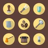 Vector het materiaalpictogrammen van koffiebarista vector illustratie