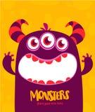 Vector het monstervreemdeling van Halloween met drie ogen grote tanden en geopende mond wijd geïsoleerd royalty-vrije illustratie