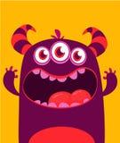 Vector het monstervreemdeling van Halloween met drie ogen grote tanden en geopende mond wijd geïsoleerd stock illustratie