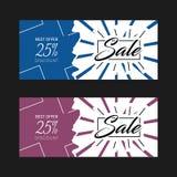 Vector het ontwerpachtergrond twee van de verkoopbanner kleureninzameling Stock Foto