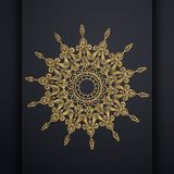 Vector het ontwerpachtergrond van luxe siermandala in gouden kleur Oosterse vector, Antistresstherapiepatronen Weefselontwerp royalty-vrije illustratie