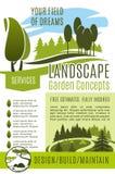 Vector het ontwerpbedrijf van het affiche tuinierend landschap Stock Fotografie