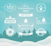 Vector het Ontwerpelementen van Kerstmisdecoratie Symbolen, Pictogrammen, Uitstekende Etiketten, Kentekens, Ornamenten en Lint vector illustratie