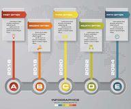 Vector het ontwerpmalplaatje van chronologie infographic 5 stappen Kan voor werkschemaprocessen worden gebruikt royalty-vrije illustratie