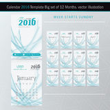 Vector het Ontwerpmalplaatje van de bureaukalender 2016 Grote reeks van 12 Maanden stock illustratie