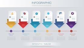 Vector het ontwerpmalplaatje van de infographicschronologie met 3D document etiket en grafiek 6 stappenopties royalty-vrije illustratie