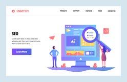 Vector het ontwerpmalplaatje van de website lineair kunst SEO-zoekmachinesoptimalisering en inhoud marketing Het landen paginacon vector illustratie