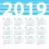 Vector het ontwerpmalplaatje van het kalender 2019 jaar Stock Fotografie