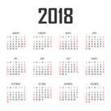 Vector het ontwerpmalplaatje van het kalender 2018 jaar Stock Afbeeldingen