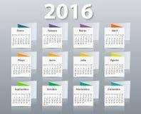Vector het ontwerpmalplaatje van het kalender 2016 jaar binnen Stock Afbeelding