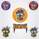 Vector het ontwerpmalplaatje van het zombiegezicht Stock Foto