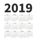 Vector het ontwerpmalplaatje van het kalender 2019 jaar Eenvoudige minimalizmstijl De week begint van Zondag Dit beeld behoort to Royalty-vrije Stock Foto