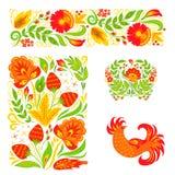Vector het ornament van de het ontwerp traditionele Rusland getrokken illustratie van het khokhlomapatroon etnische het schildere Stock Afbeeldingen