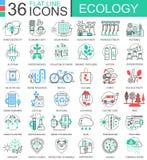 Vector het overzichtspictogrammen van de Ecologie vlakke lijn voor apps en Webontwerp Het pictogram van de ecologietechnologie royalty-vrije illustratie