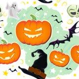 Vector het patroonontwerp van beeldverhaal naadloos Halloween met magische geïsoleerde elementen Royalty-vrije Stock Foto's