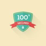 Vector het pictogramkenteken van het veiligheidsschild in vlakke stijl Stock Fotografie