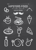 Vector het pictogramreeks en element van het hipstersvoedsel Stock Fotografie