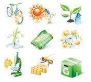 Vector het pictogramreeks van de beeldverhaalstijl. Deel 21. Ecologie Royalty-vrije Stock Afbeeldingen