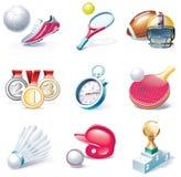 Vector het pictogramreeks van de beeldverhaalstijl. Deel 34. Sport Royalty-vrije Stock Foto's