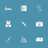 Vector het Pictogramreeks van de het ziekenhuisgezondheid Royalty-vrije Stock Fotografie